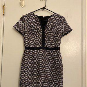 Short Sleeve Blue Patterned Dress